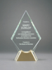 Diamond Glass with  Gold Metal Base Clear Glass Awards