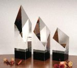 Executive Diamond Pillar Black Optical Crystal Awards